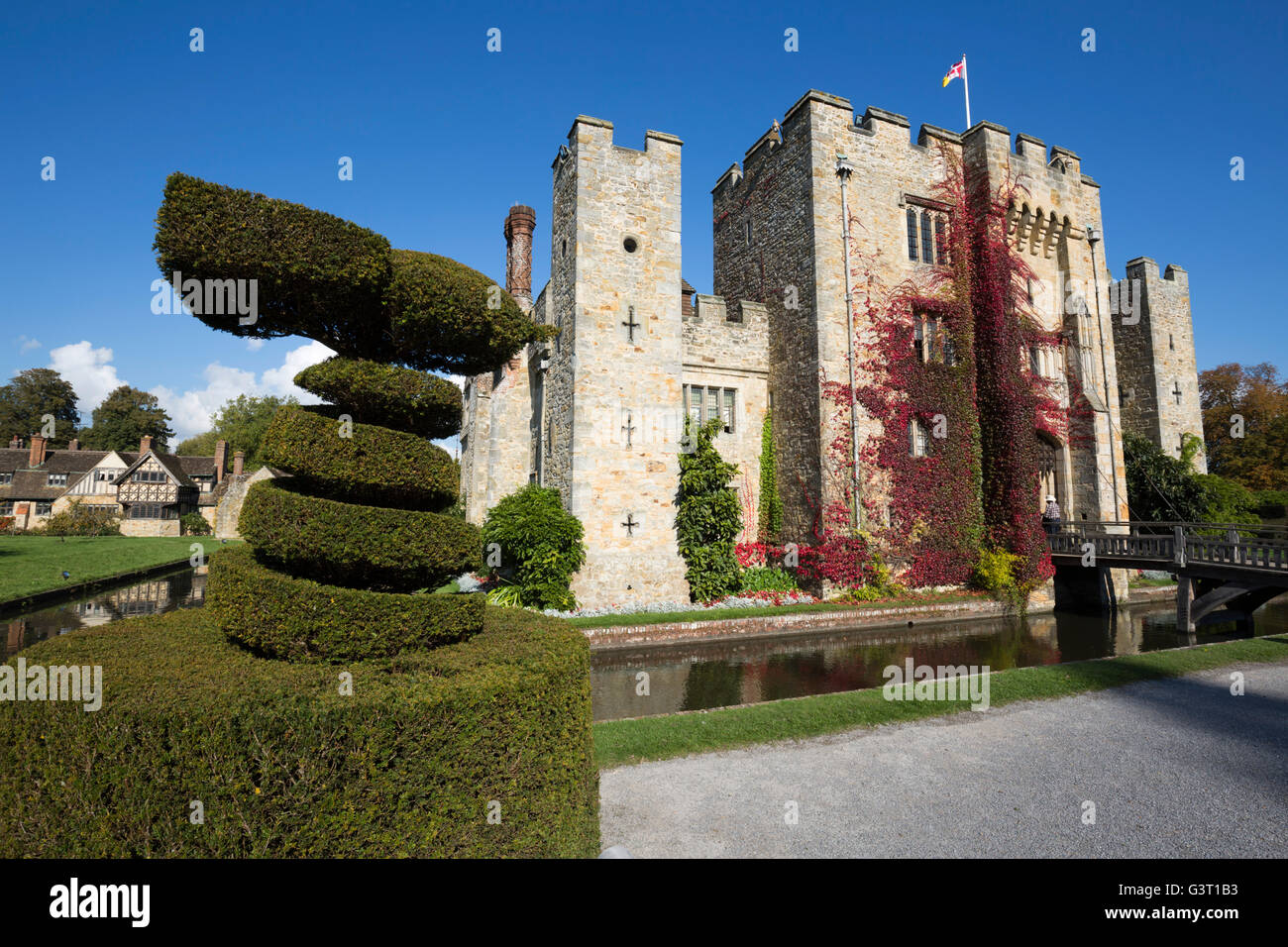 Le château de Hever et jardins, Hever, Kent, Angleterre, Royaume-Uni, Europe Photo Stock