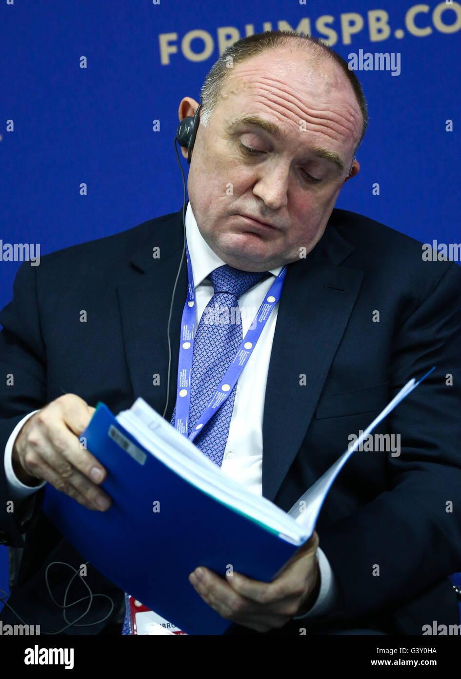 Saint-pétersbourg, Russie. 16 Juin, 2016. Gouverneur de la région de Tchéliabinsk Boris Dubrovsky Photo Stock