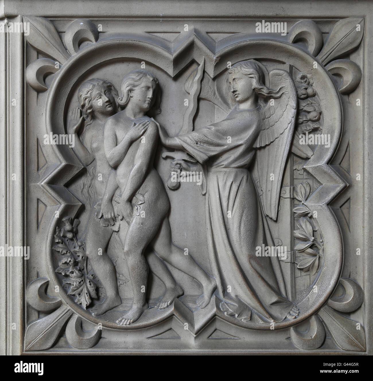 L'expulsion d'Adam et Ève du jardin du Paradis. Le soulagement. La genèse. 13e c. La Sainte-Chapelle, Photo Stock