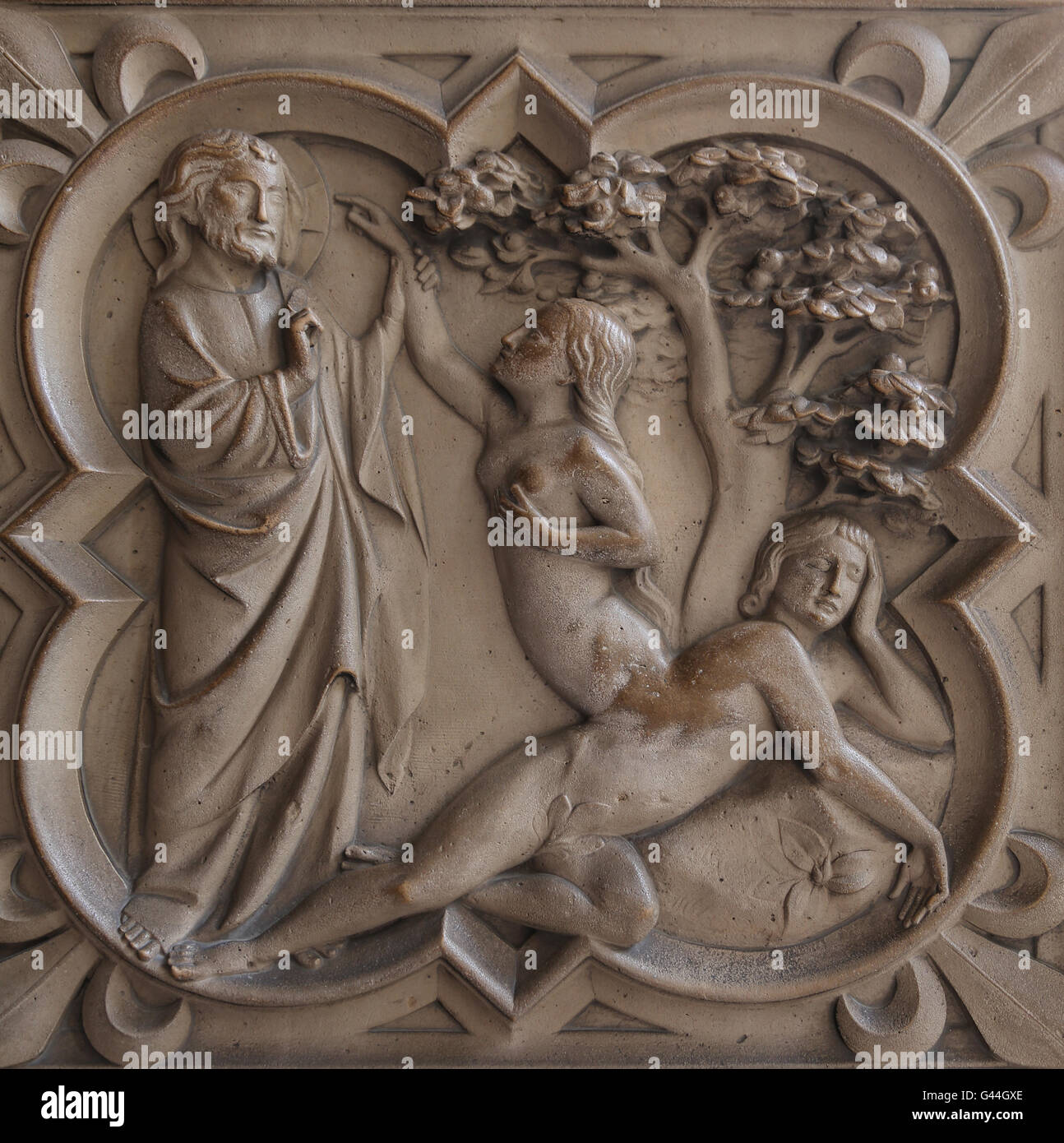 Création d'Ève. Le soulagement. La genèse. 13e c. La Sainte-Chapelle, Paris, France. Banque D'Images