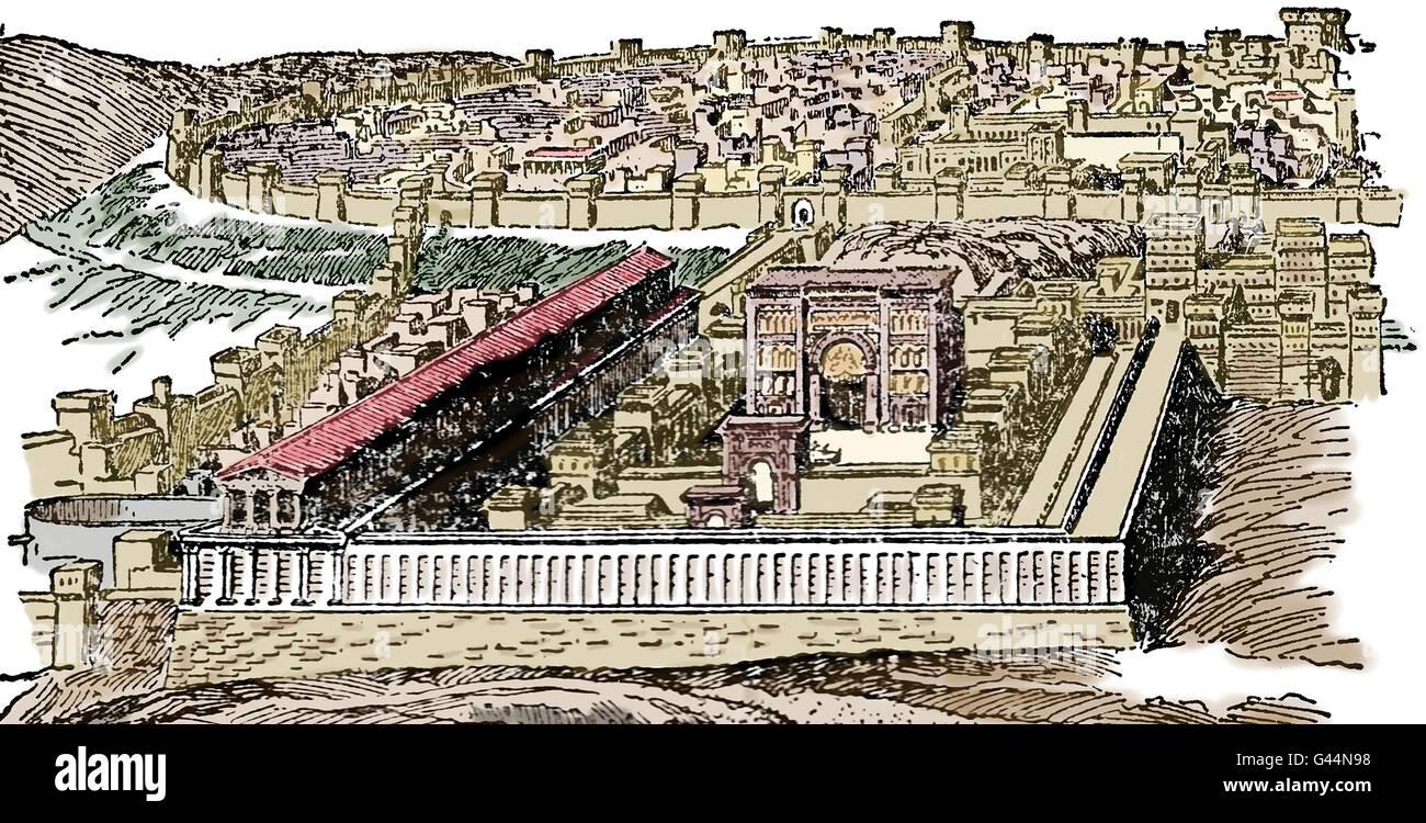 Saint Temple. Jérusalem. La gravure. 19e siècle. La couleur. Photo Stock