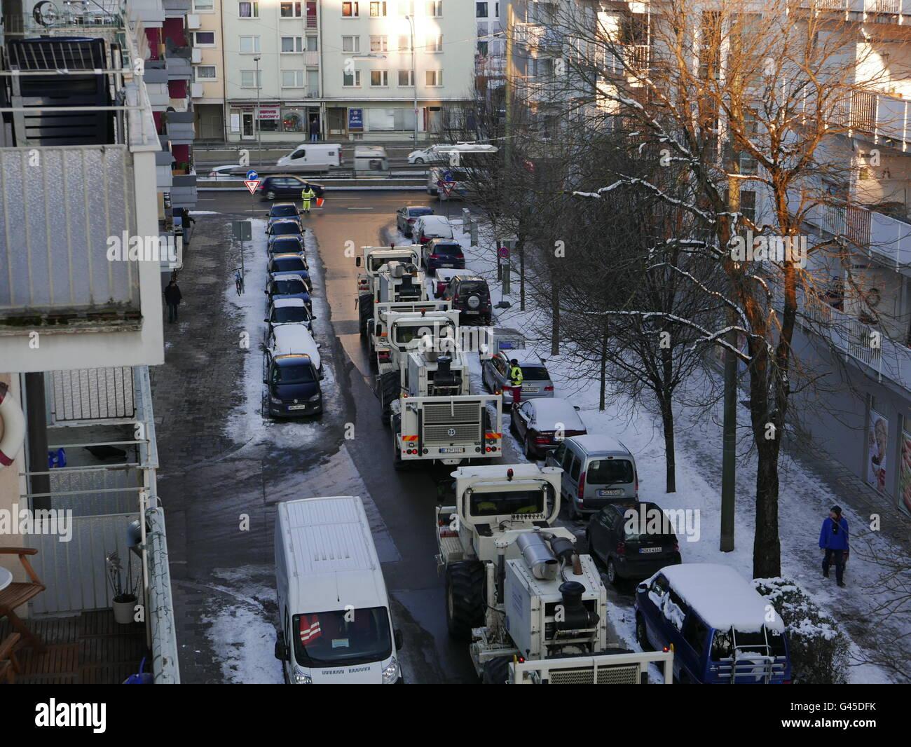 Europe Allemagne Munich Geo Thermie mesures sismique sismique Vibro Photo Stock