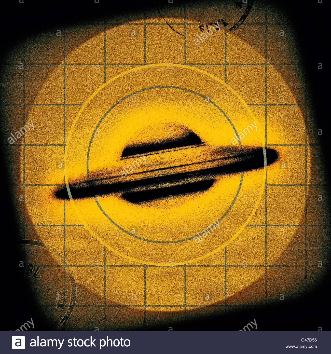 Soucoupe volante OVNI rétro au milieu du siècle d'observation de l'âge de l'espace rétro atomique Banque D'Images