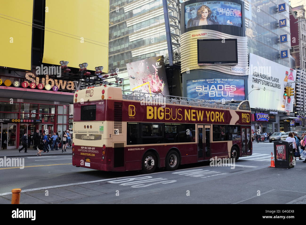 La ville de New York, Manhattan, Big Bus Photo Stock
