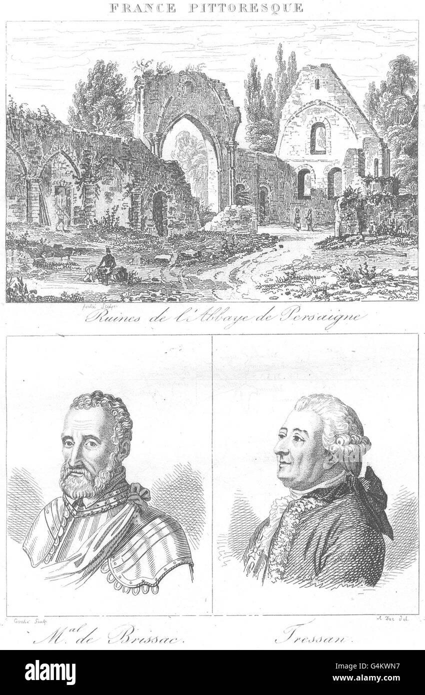 SARTHE: ruines L'abbaye Persaigne; mal. Brissac; Tressan, antique print 1835 Photo Stock