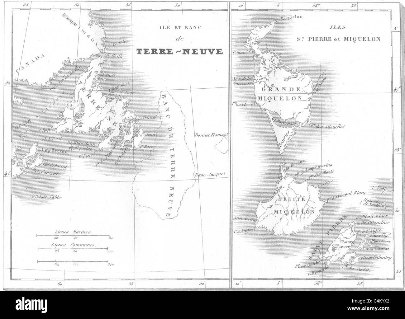 Océan Atlantique : Ile banc Terre-Neuve ; IIes Saint Pierre Miquelon on