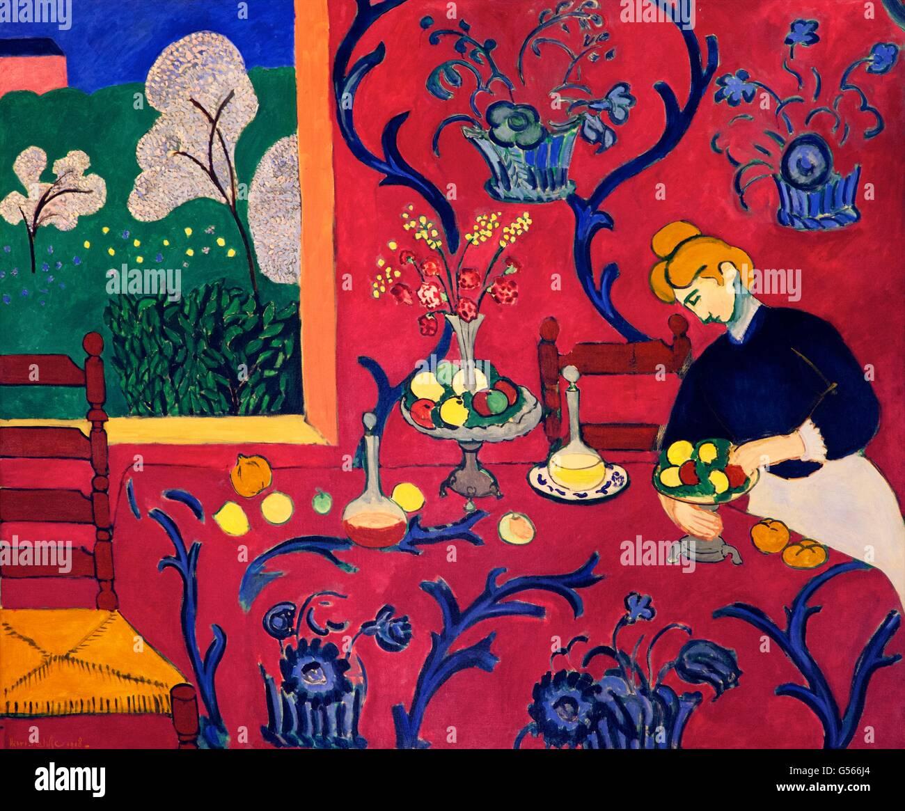 Salle Rouge, l'harmonie en rouge, d'Henri Matisse, 1908, Musée de l'Ermitage, Saint-Pétersbourg, Photo Stock