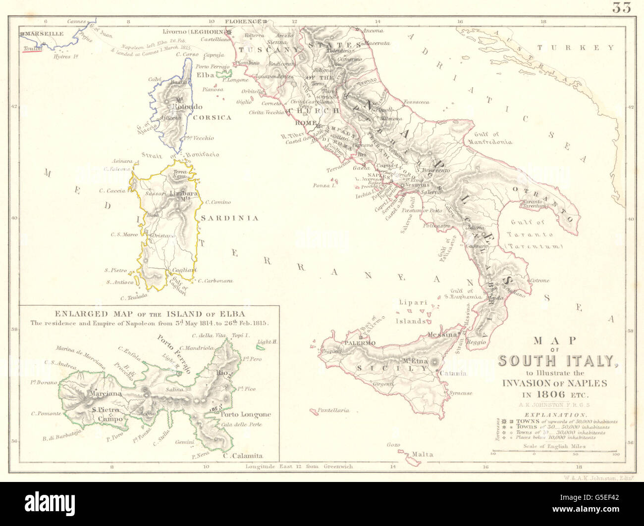 INVASION DE NAPLES 1806: Guerres Napoléoniennes. L'île d'Elbe. Le sud de l'Italie, 1848 Ancien site Banque D'Images
