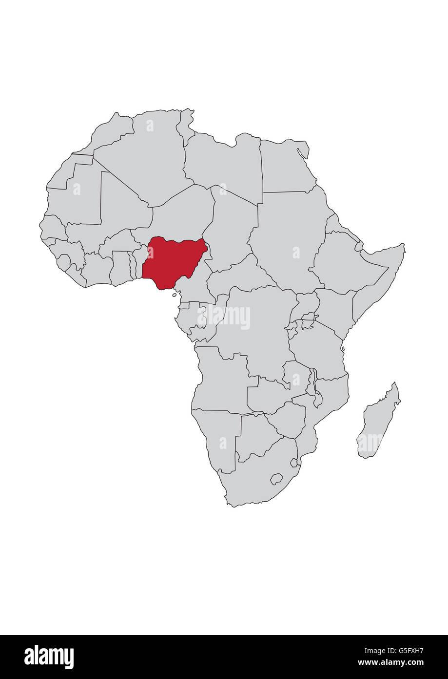 Carte Afrique Nigeria.Carte De L Afrique Nigeria Banque D Images Photo Stock