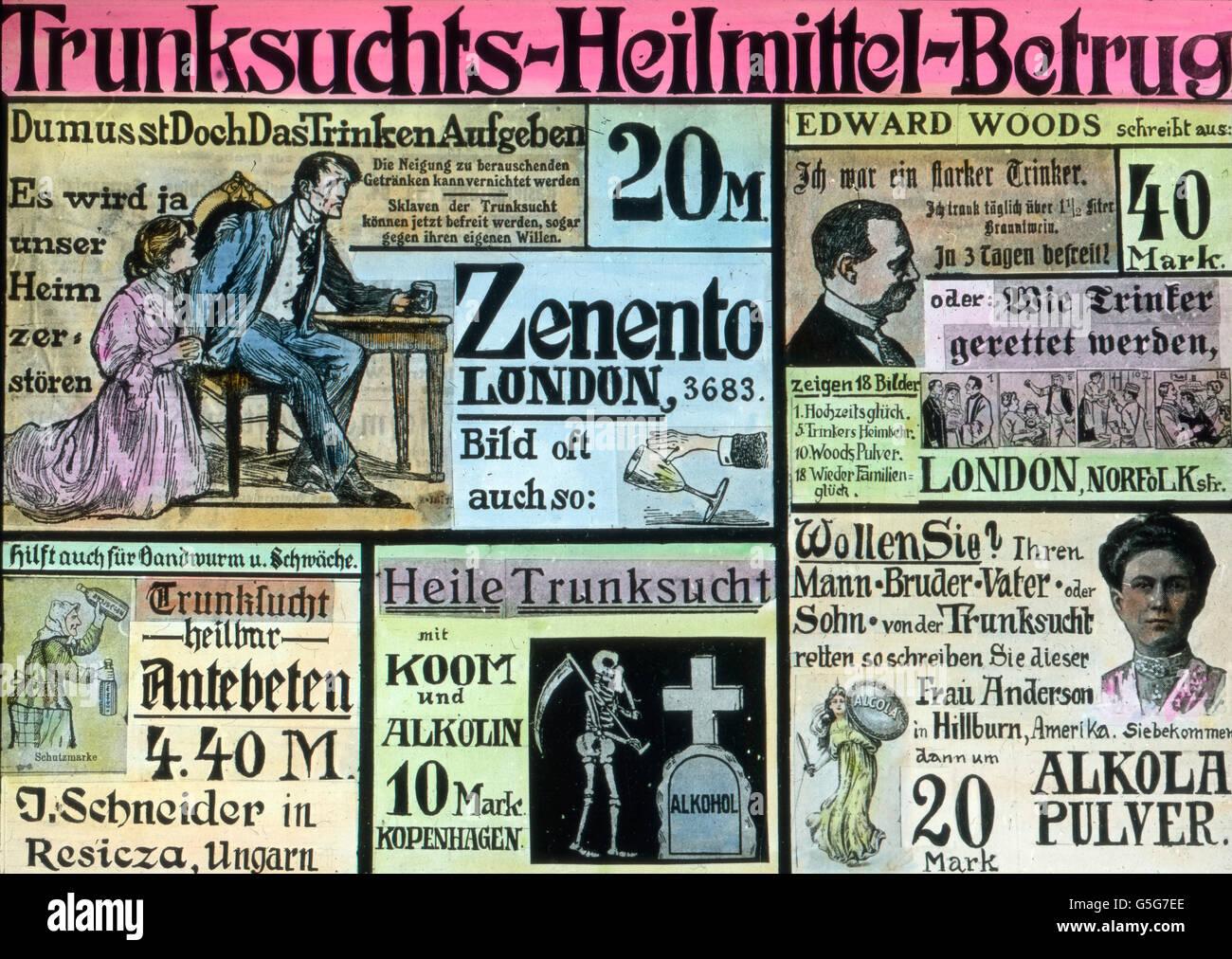 Zeitungsanzeigen Betrügerische zur Heilung des Alkoholismus. Annonces dans les journaux pour la guérison Photo Stock