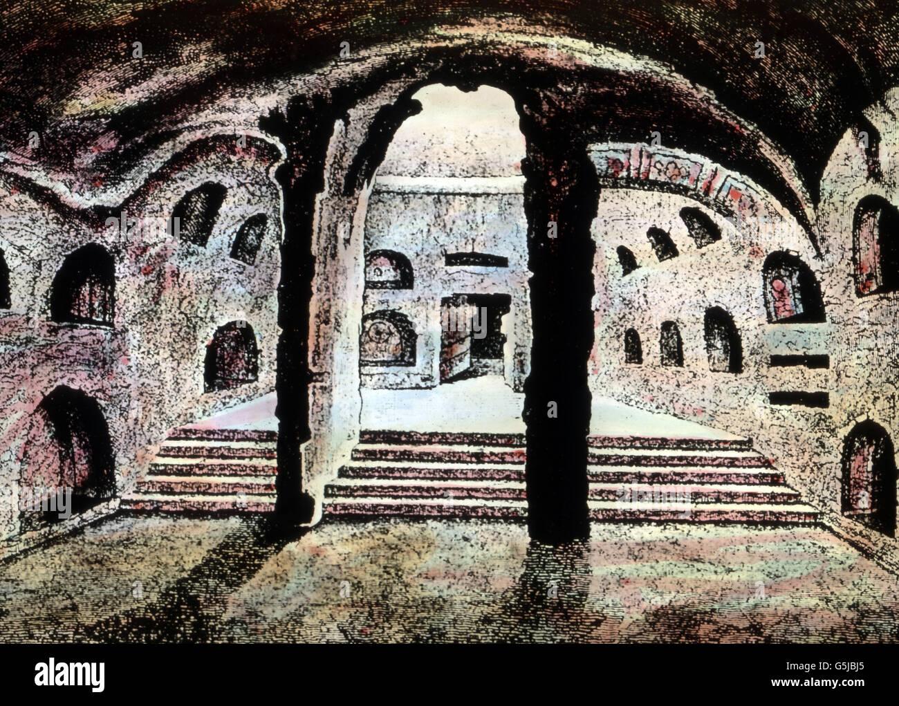Dans den Katakomben bei Rom, Italie. Aux Catacombes près de Rome, Italie. Banque D'Images