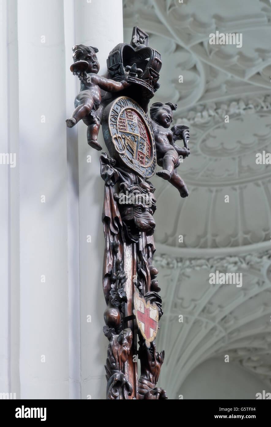 L'église St Mary Aldermary, dans la ville de Londres, l'épée reste Photo Stock