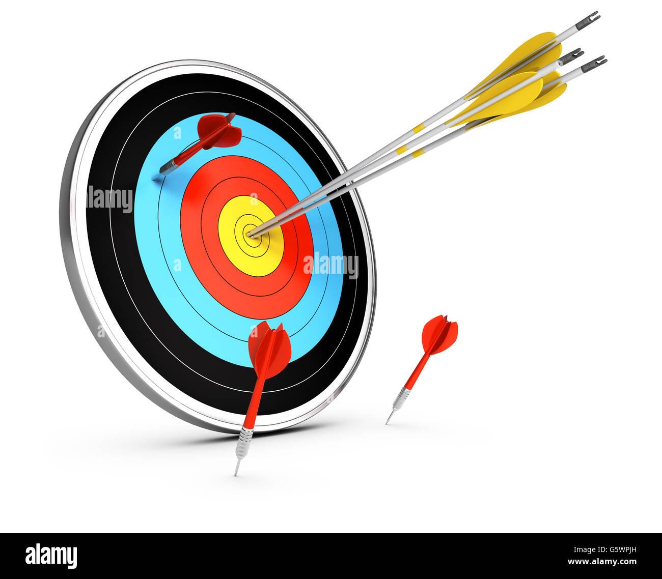 3D illustration de trois flèches de frapper le centre de la cible et de trois fléchettes failled d'atteindre Photo Stock