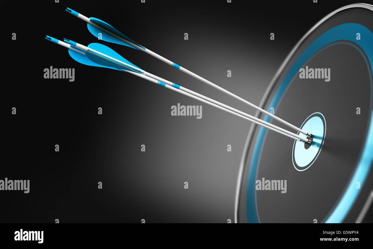 3D illustration de trois flèches frappant le centre d'une cible moderne avec effet de profondeur de champ. Photo Stock