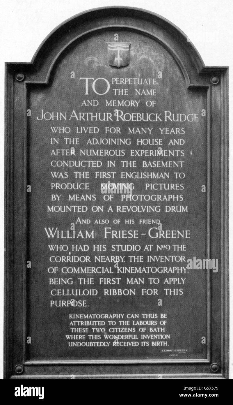 Rudge, John Arthur Roebuck, 1837 - 1903, d'instruments et inventeur britannique, plaque commémorative, Photo Stock