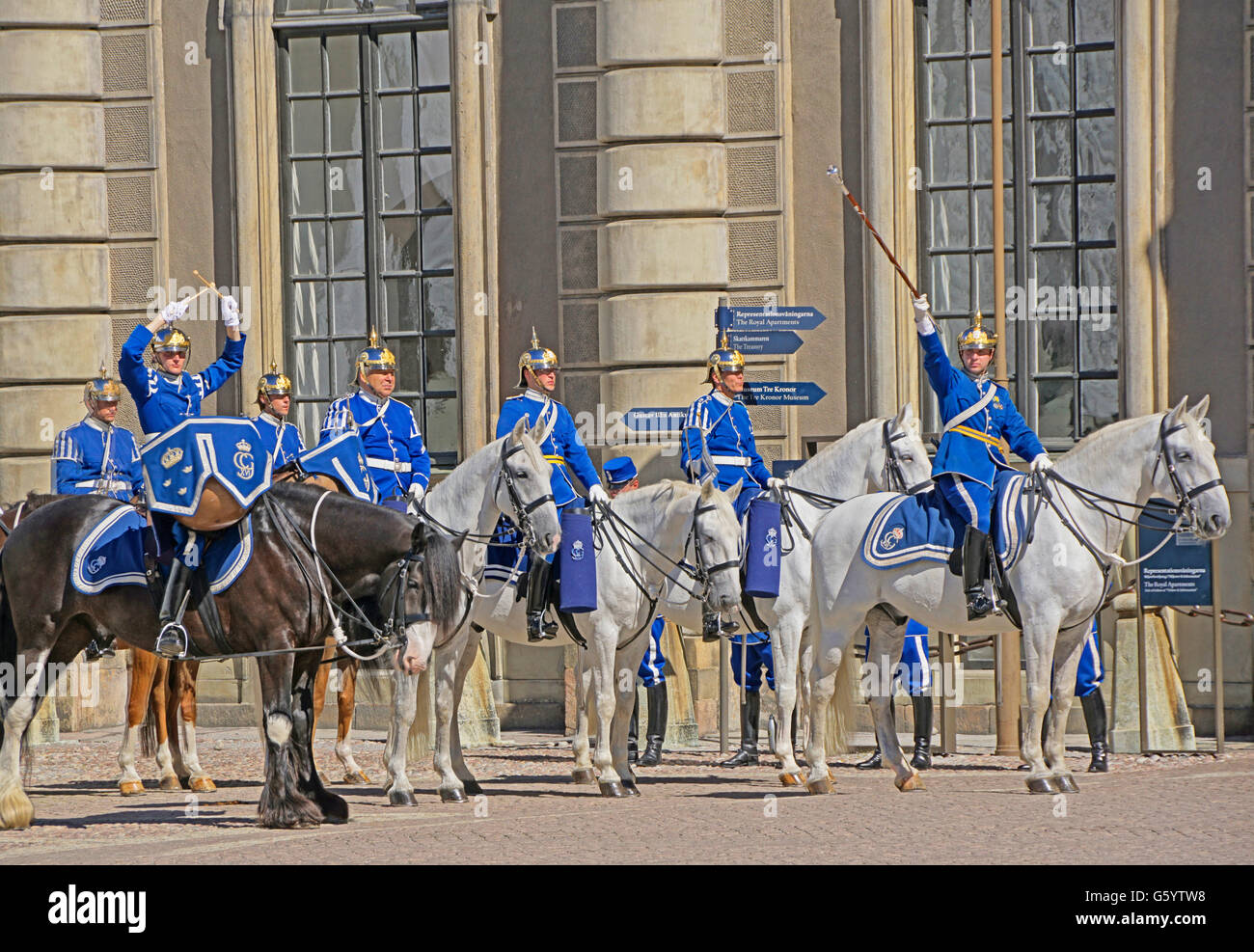 Relève de la garde au Palais Royal de Stockholm, Suède. Photo Stock