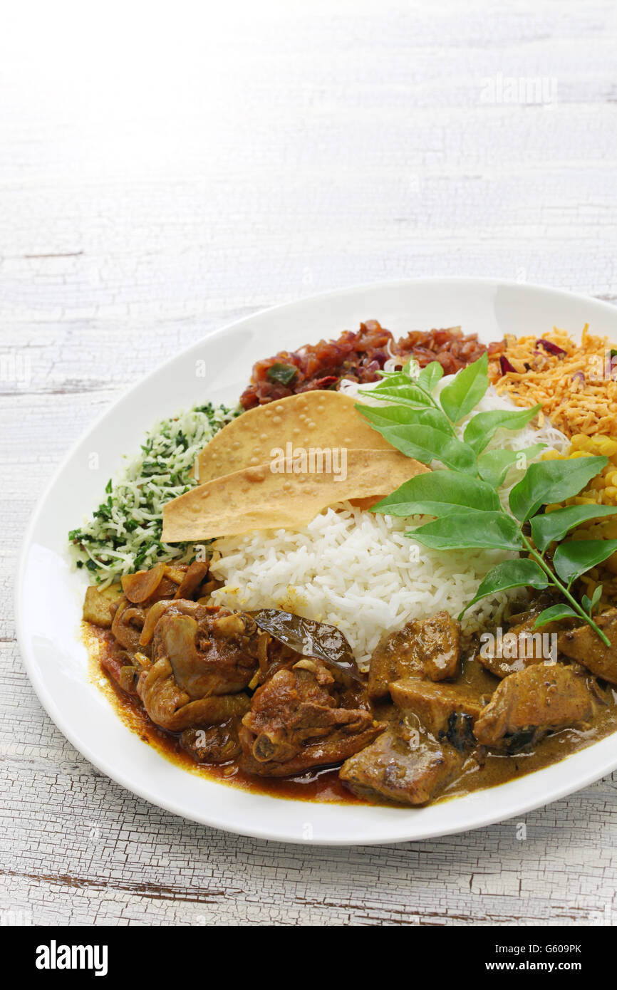 Riz et curry, cuisine sri-lankais Photo Stock