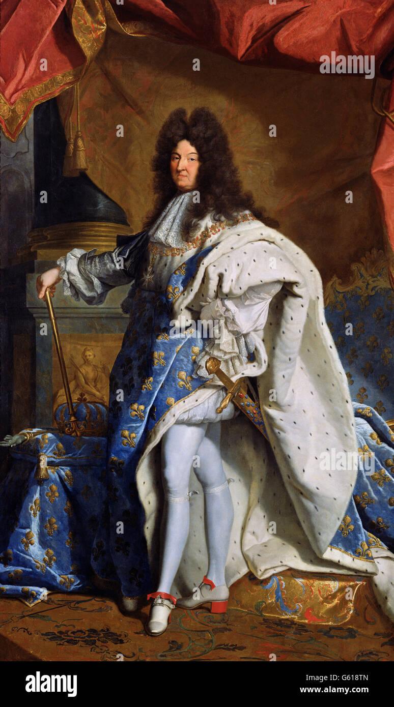 Louis XIV. Portrait du roi Louis XIV de France (1638-1715), après Hyacinthe Rigaud 1701 peinture, huile sur toile Banque D'Images