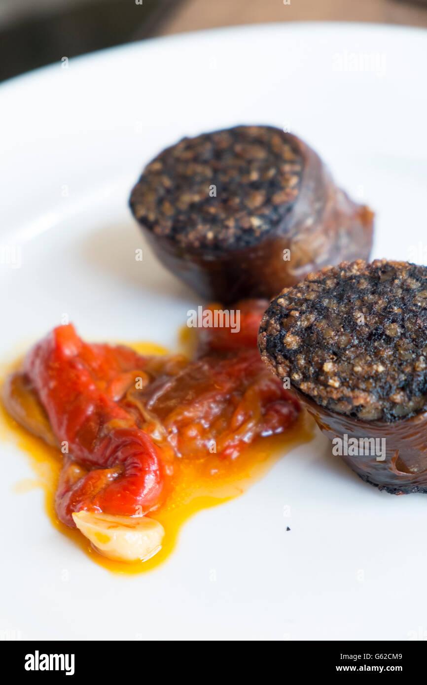 Espagnol - Morcilla boudin noir ou boudin Photo Stock