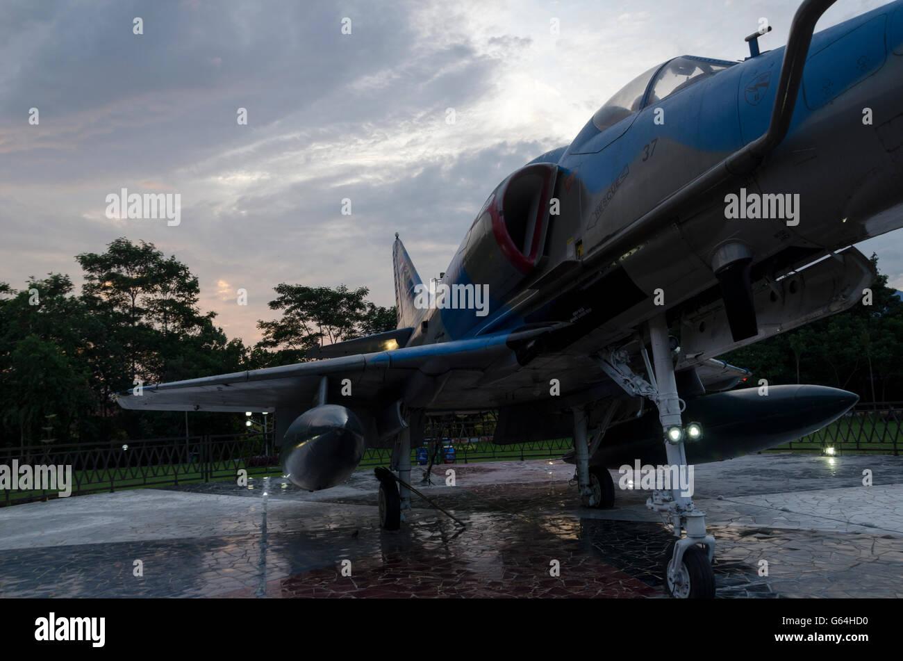 Batik - parcs Majalengka Dirgantara park est situé dans le centre de Majalengka, dans le jardin il y a un jet Photo Stock