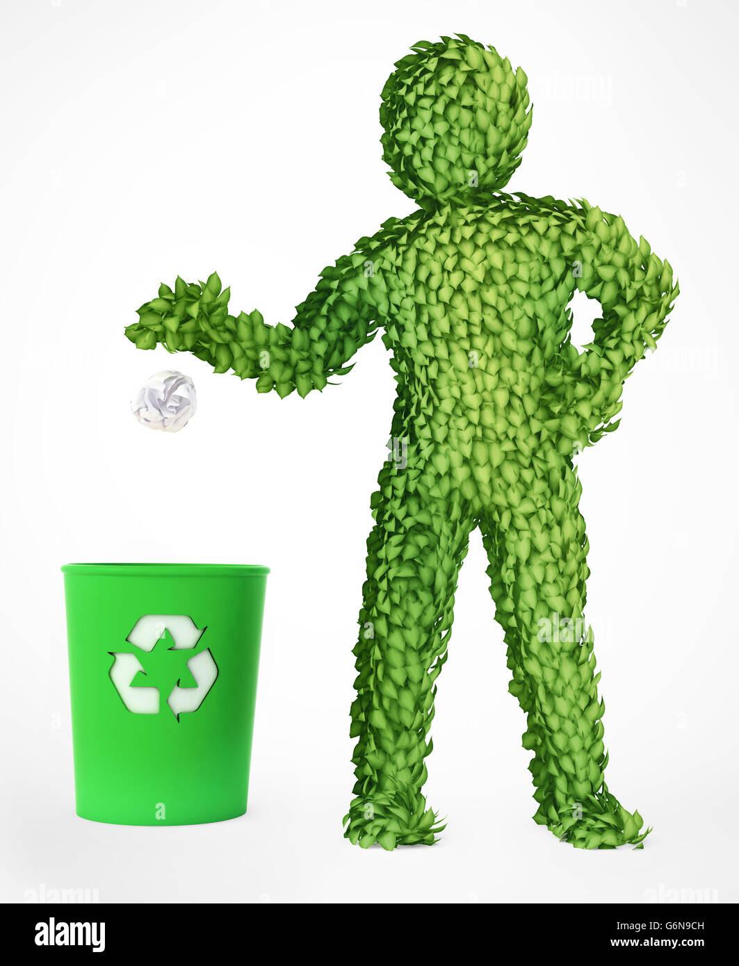Couvert de feuilles eco friendly 3D character Photo Stock