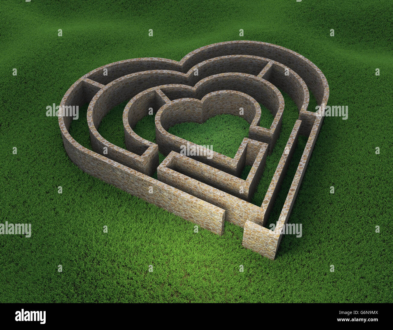 Labyrinthe en forme de coeur - l'amour et des relations concept 3D illustration Photo Stock