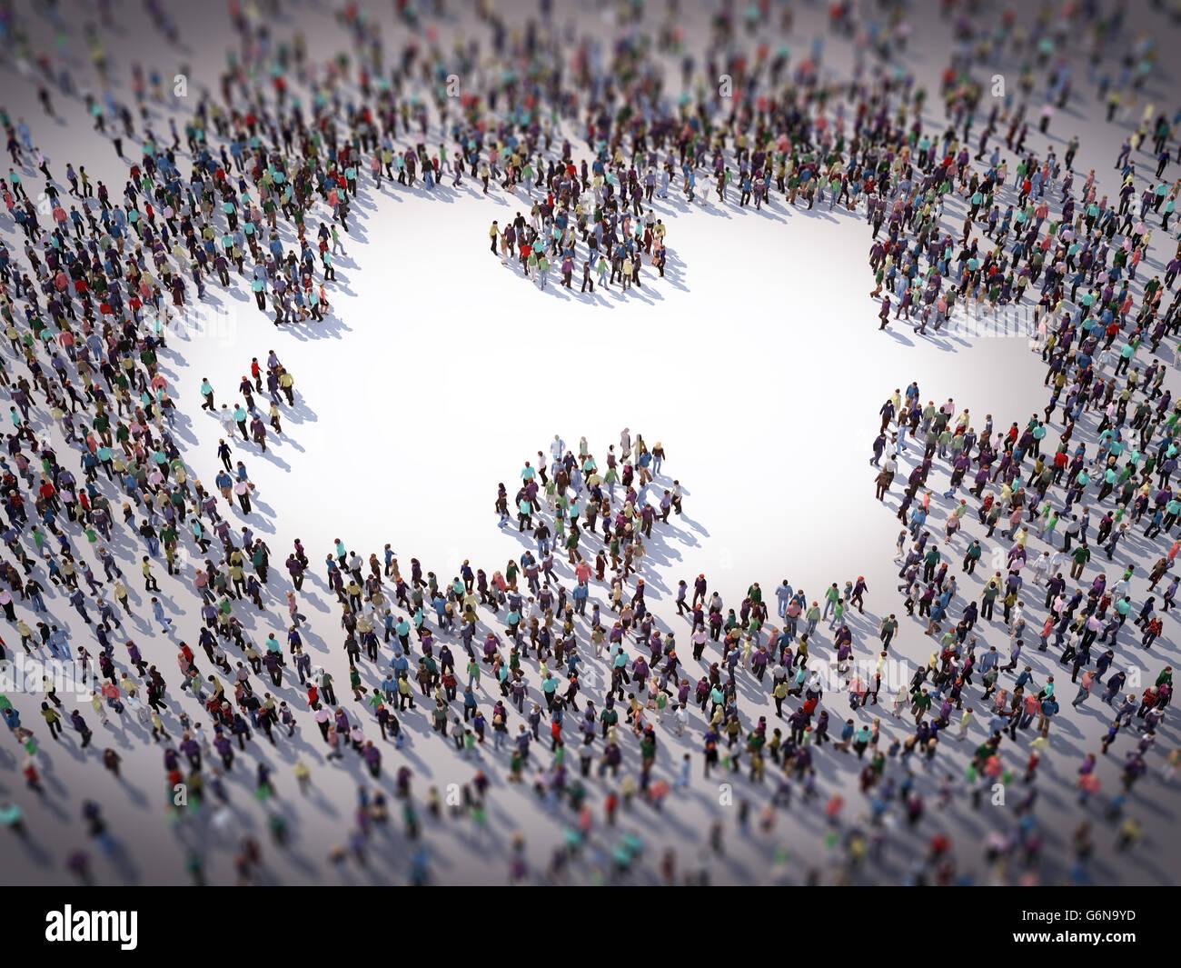 Grand groupe de personnes formant un symbole - puzzle 3D illustration Banque D'Images