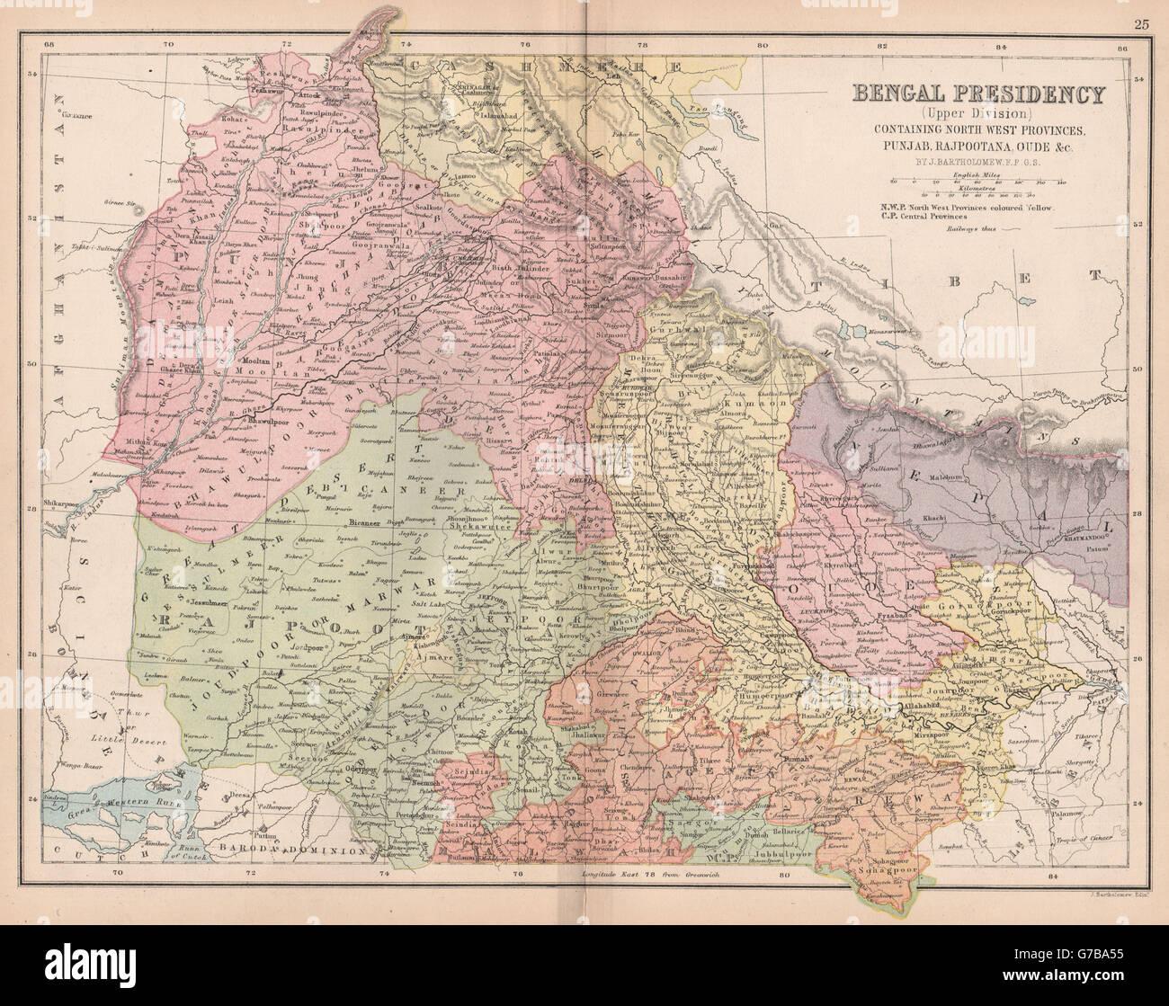 Carte Inde Punjab.Au Nord De L Inde Britannique East Bengal Punjab