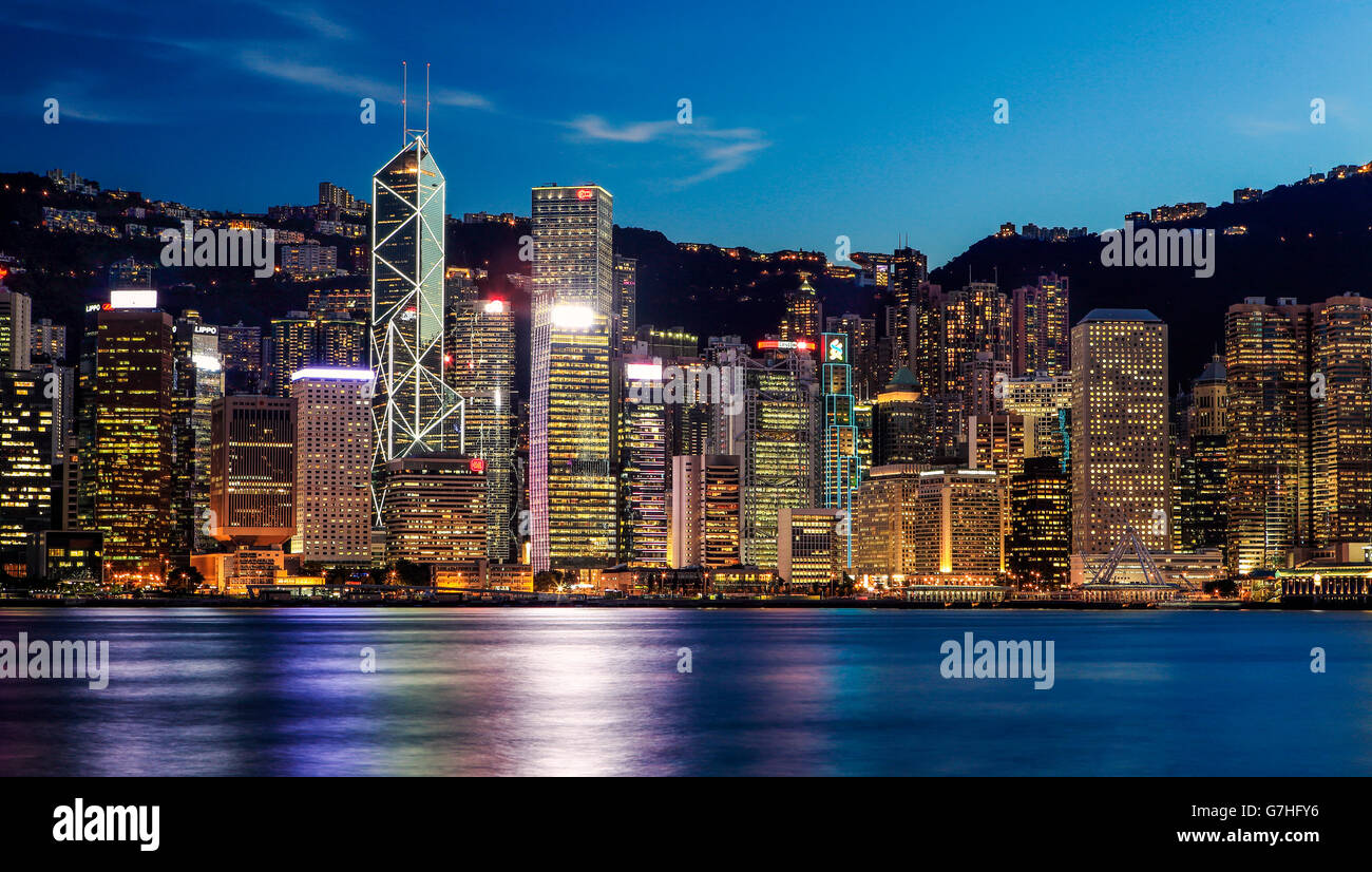 L'horizon de Hong Kong de Tsim Sha Tsui, Hong Kong. Photo Stock