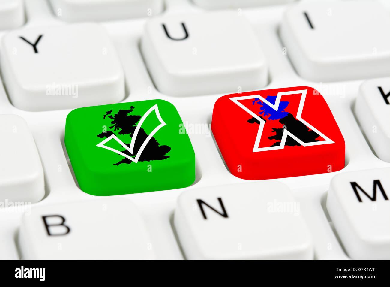 Le référendum pour l'indépendance de l'Écosse vote boutons sur le clavier d'un ordinateur. Photo Stock