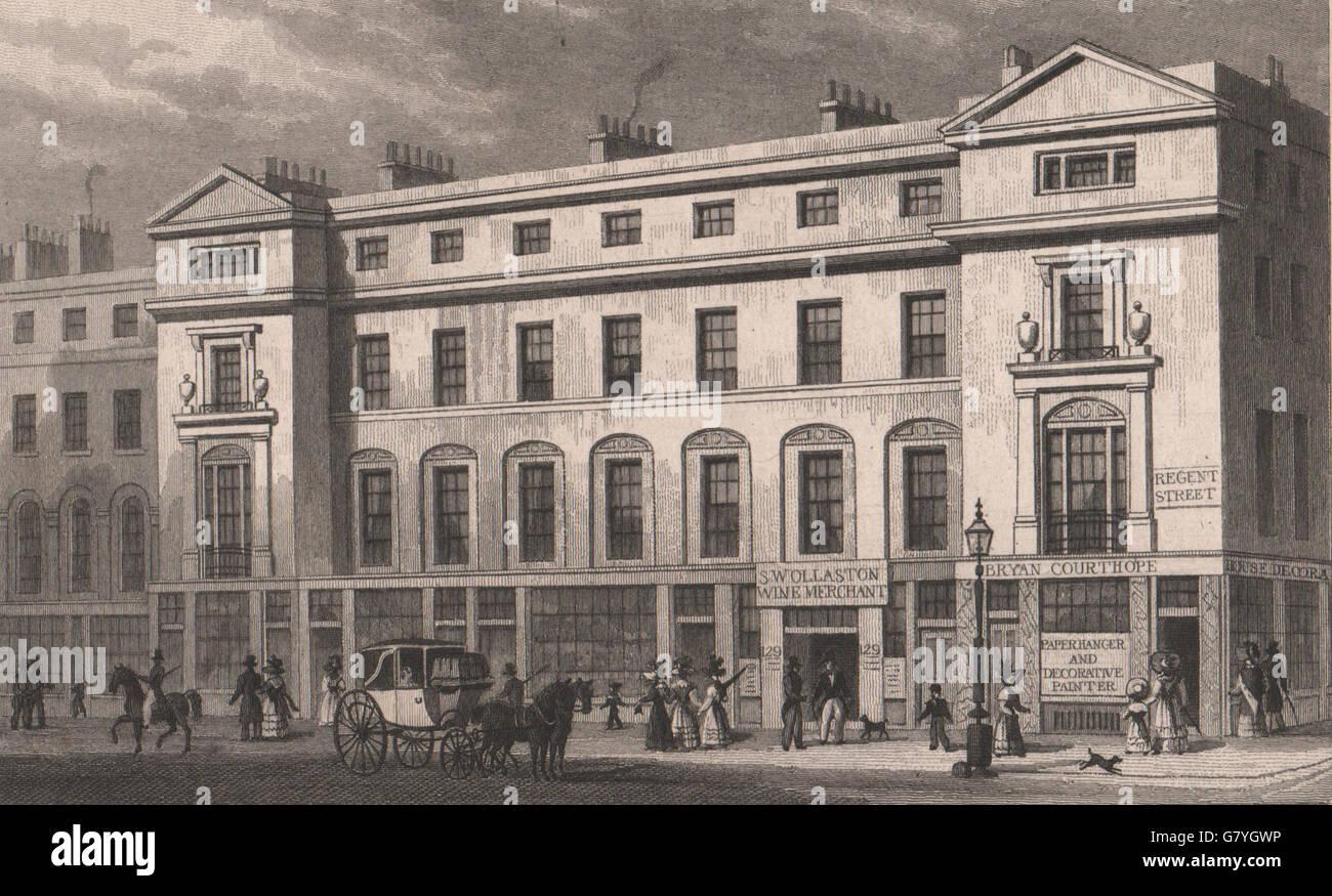 121-131 Regent Street West Side. Vigo Street - Heddon Street. SHEPHERD, 1828 Photo Stock