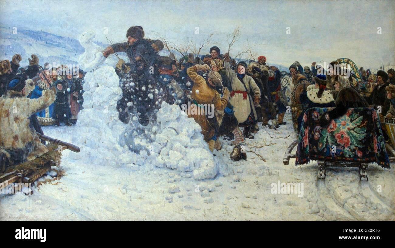 Prendre la forteresse de neige par l'orage, par vasili Ivanovitch Sourikov, 1891, musée d'Etat russe, Photo Stock