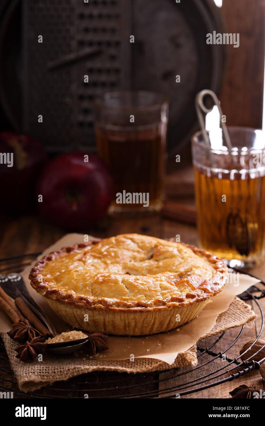 Tarte aux pommes avec du sucre brun et de cannelle Photo Stock