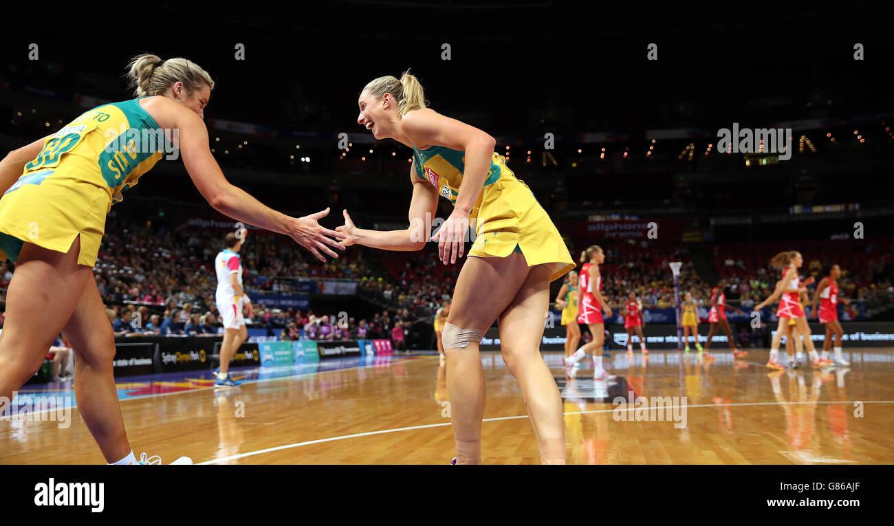 Netball Netball - 2015 Coupe du Monde - tour de qualification - Angleterre v Australie - l'Allphones Arena Photo Stock