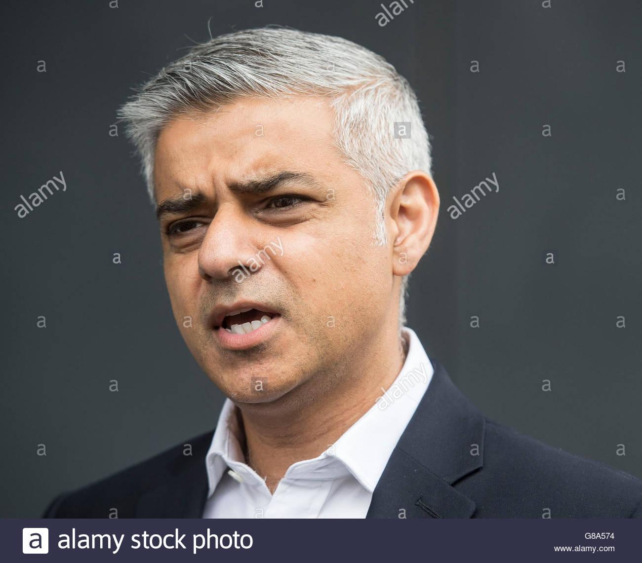 Photo de fichier en date du 13/06/16 de maire de Londres Sadiq Khan, qui a dit la Grande-Bretagne ne devrait pas Photo Stock