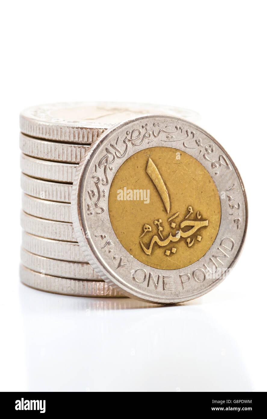 Livre Egyptienne De Pieces Sur White Banque D Images Photo