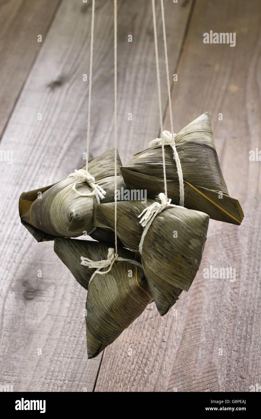 Boulette de riz chinois, zongzi Photo Stock