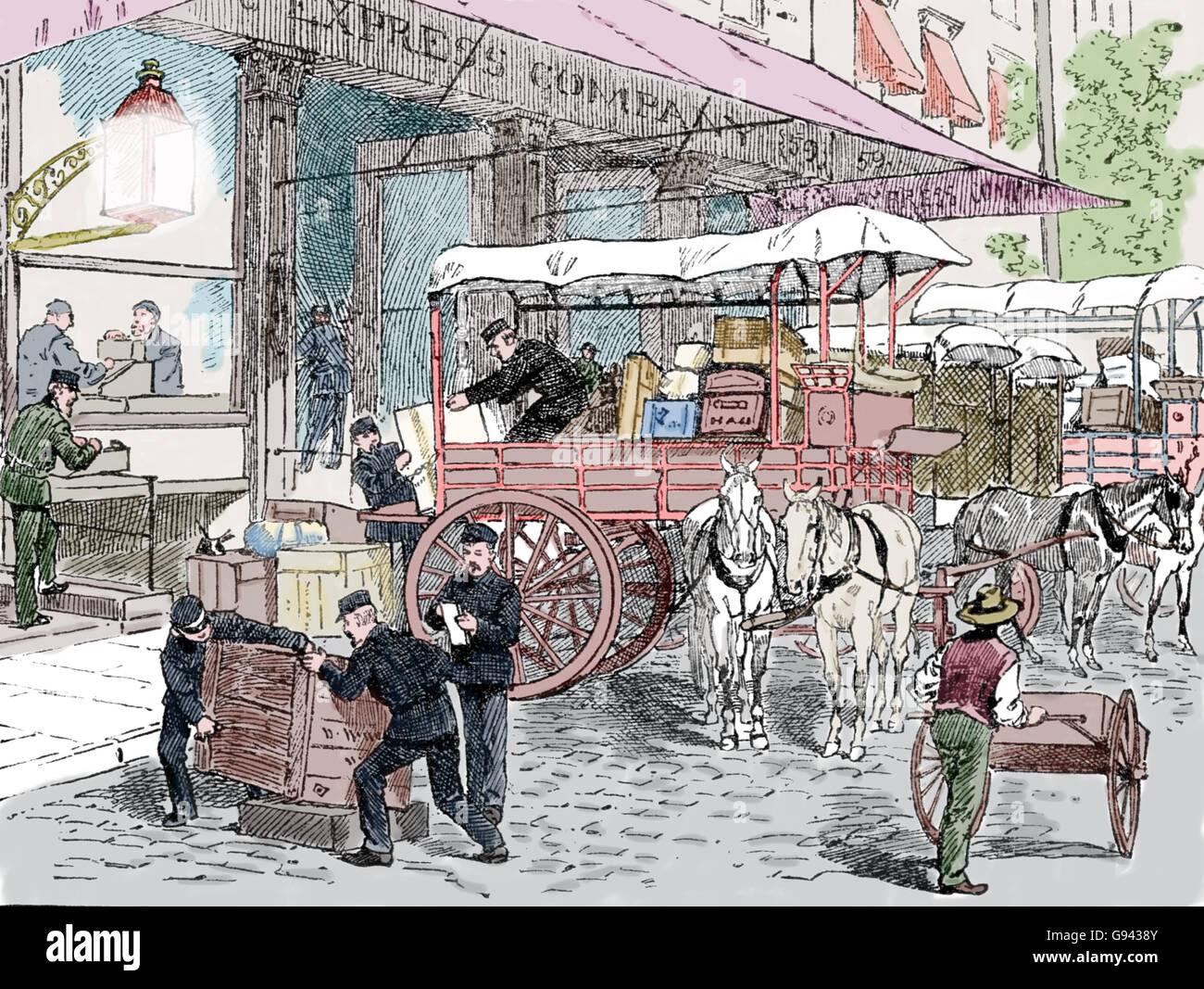 Le service des messagers. Express Company. Usa. 19e siècle. La gravure. Photo Stock