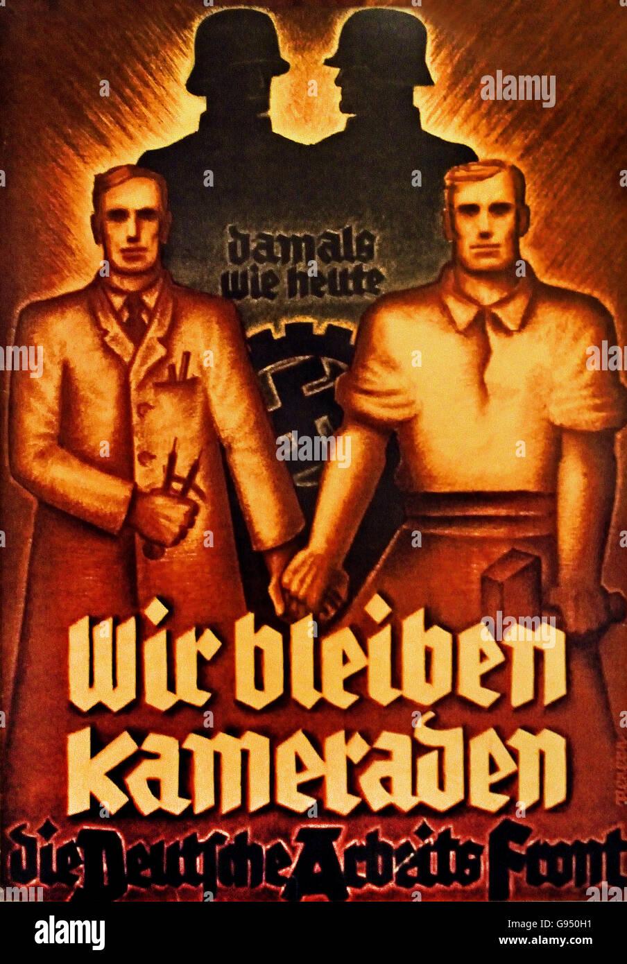 Wir Bleiben Kameraden - Nous demeurons camarades affiche du Front du Travail allemand ( DAF ) 1933 Berlin Allemagne Photo Stock
