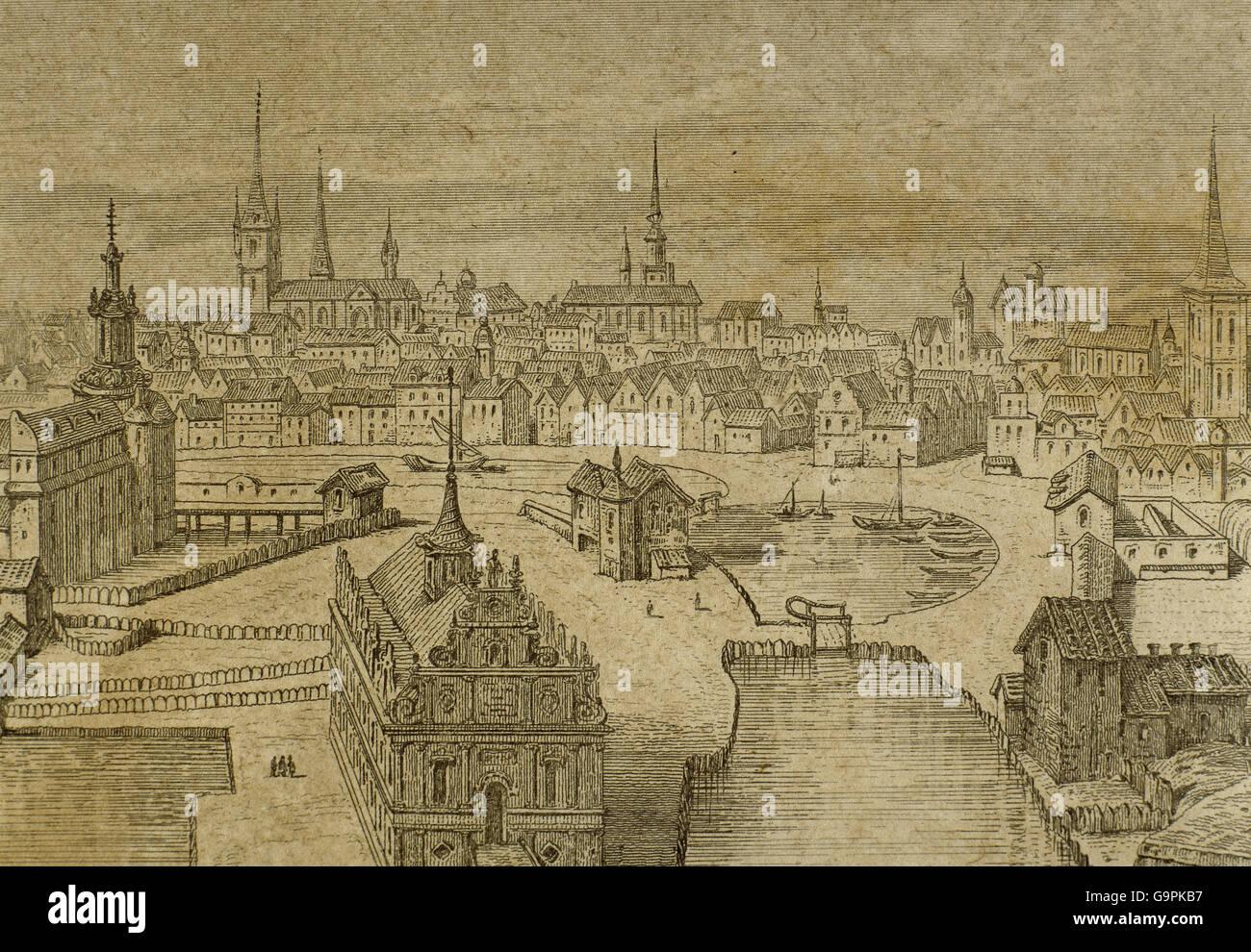 Le Danemark. Copenhague au 16ème siècle. La gravure. Photo Stock