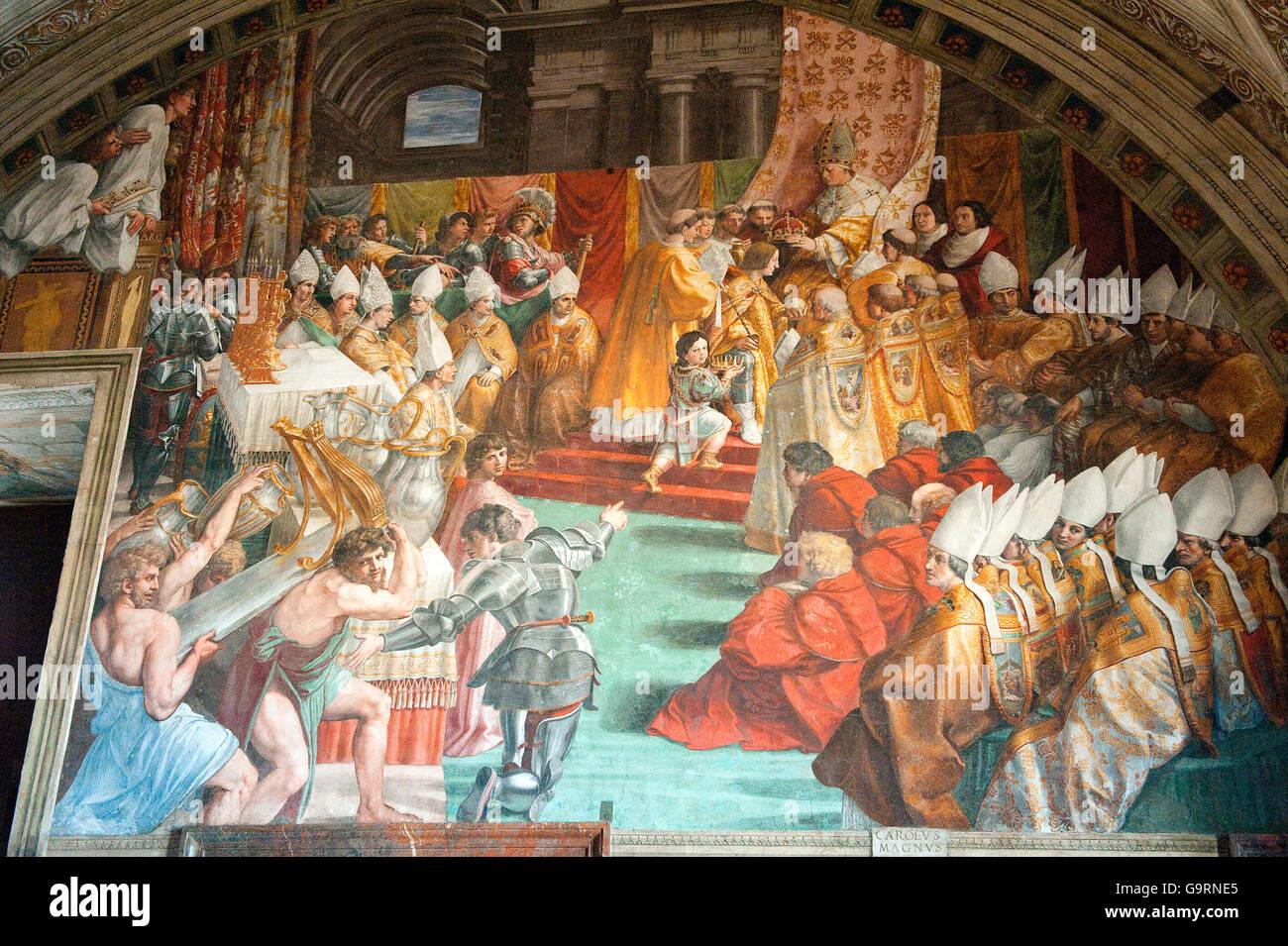 la peinture du couronnement de charlemagne par rapha l fresco prix d 39 incendie borgo fresco. Black Bedroom Furniture Sets. Home Design Ideas