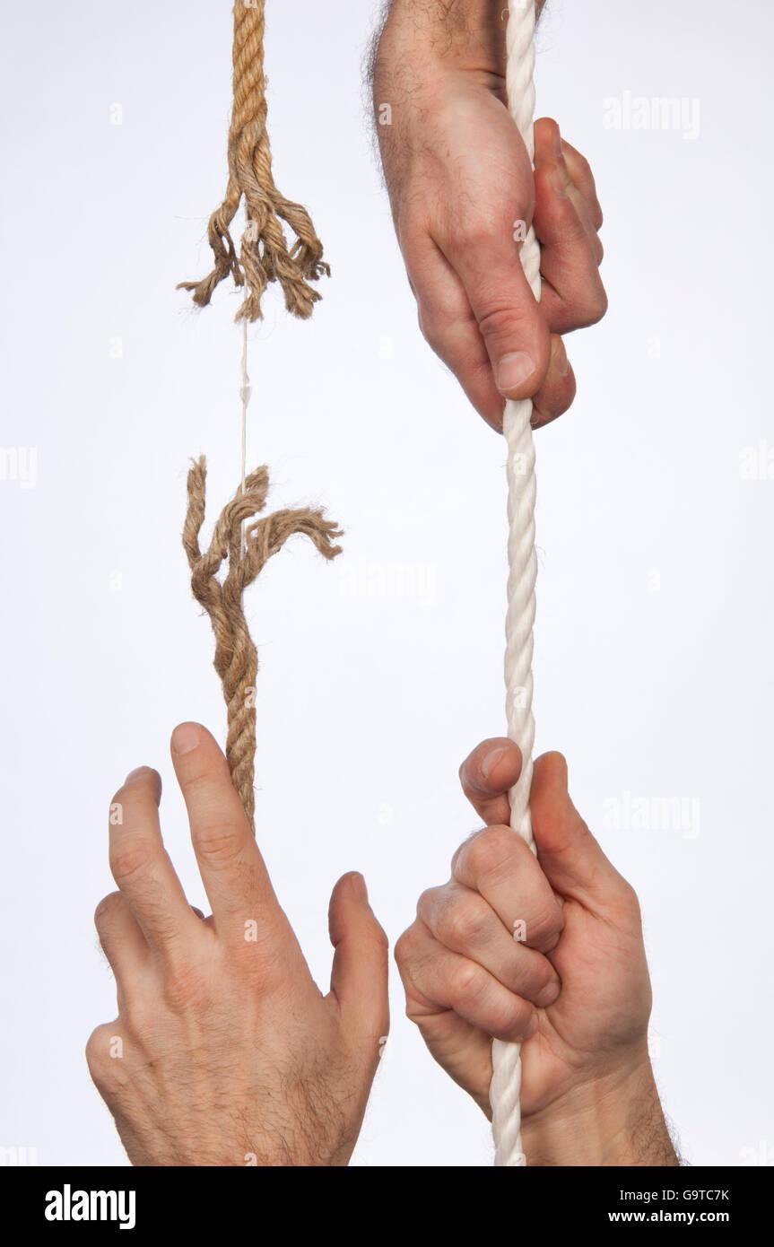 Corde effilochée retiré manuellement Photo Stock