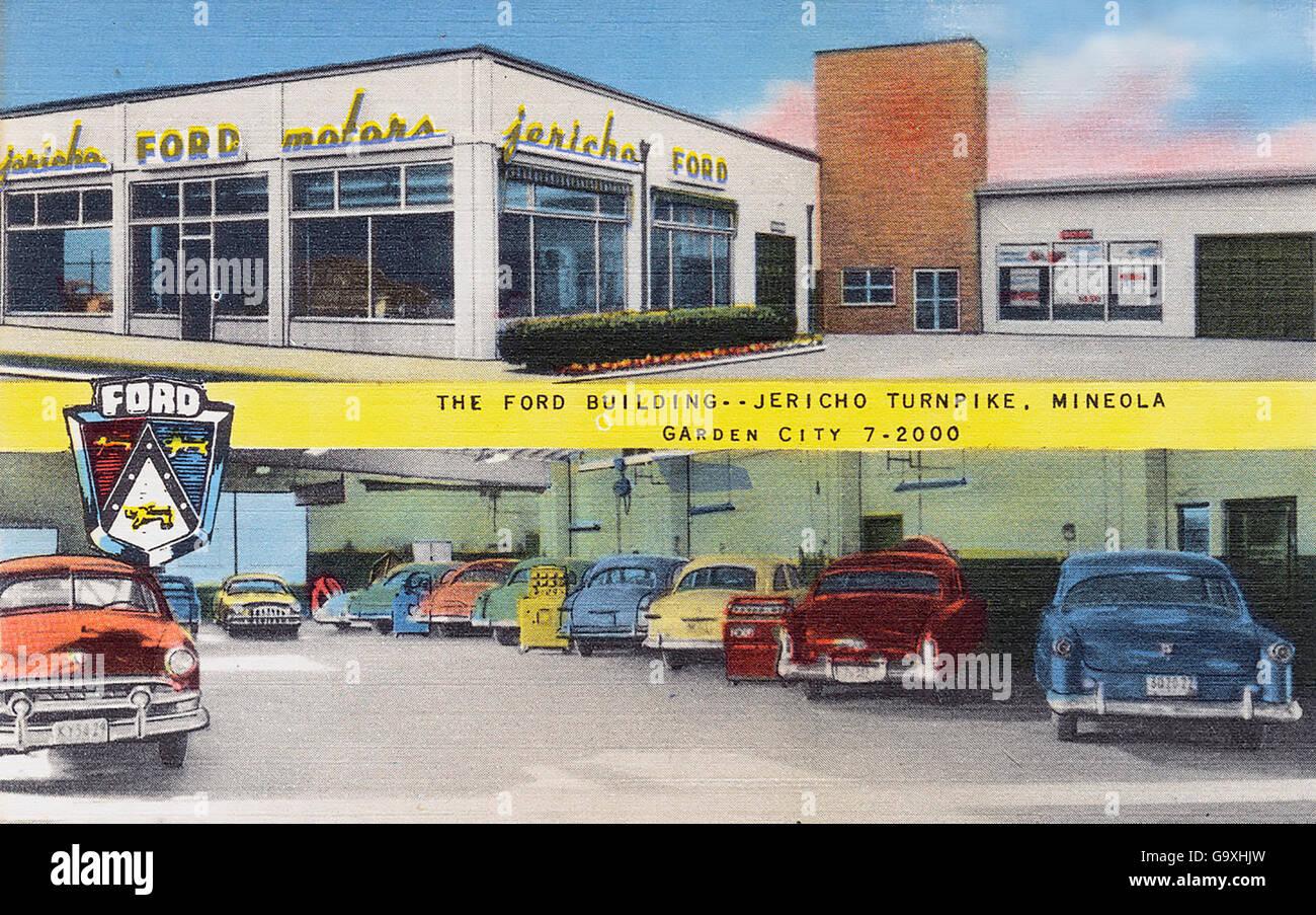 Concessionnaire Ford sur une carte postale de 1950 Photo Stock