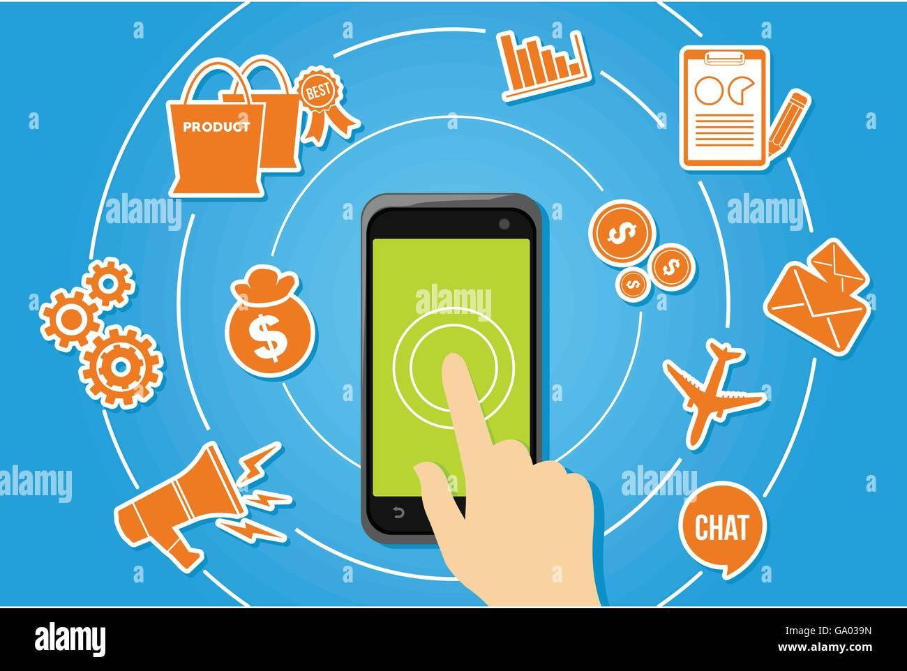 Développement d'applications mobiles écosystème d'applications concept illustration Photo Stock