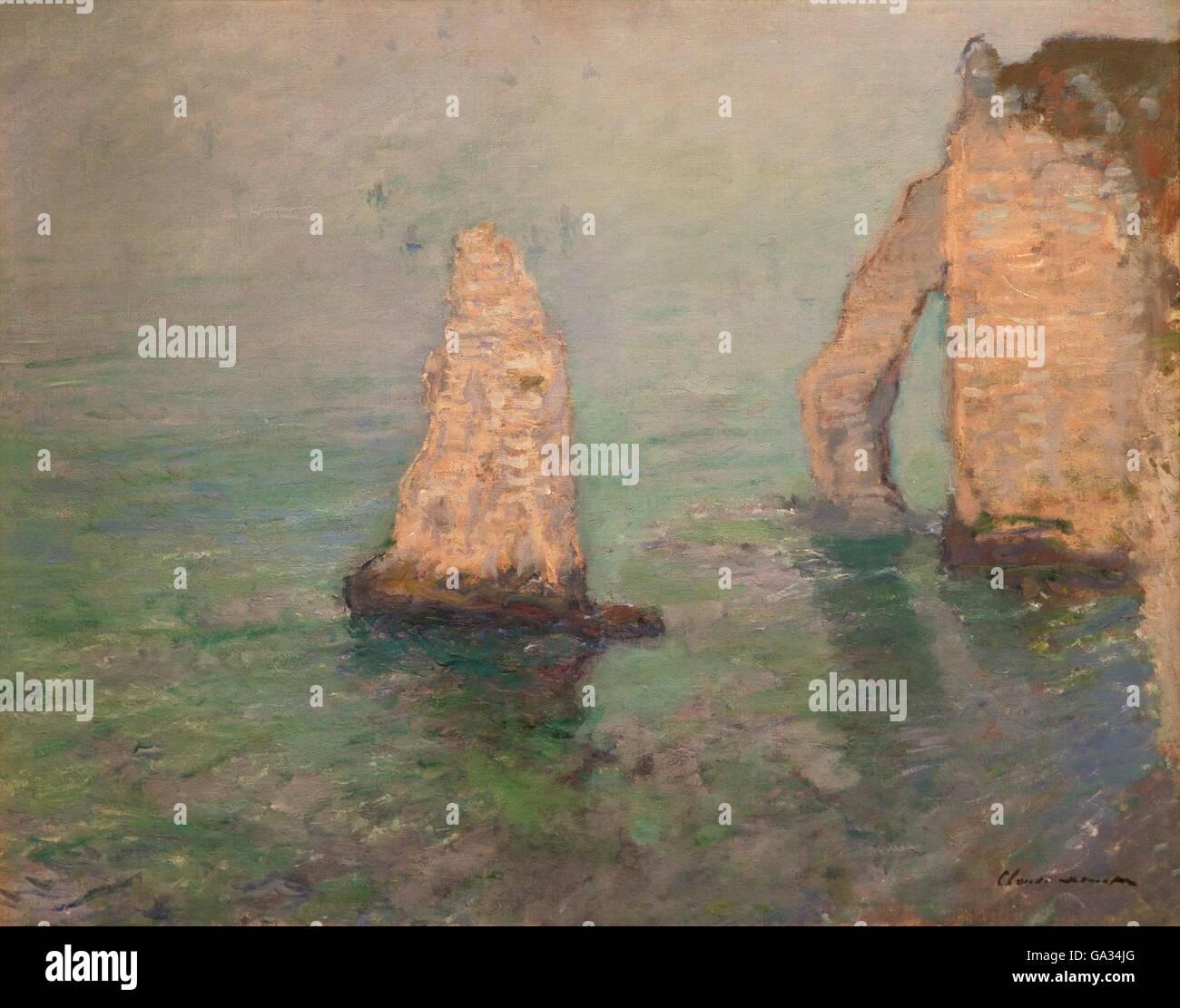 La roche aiguille et la porte d'Aval, Etretat, par Claude Monet, 1885, Fitzwilliam Museum, Cambridge, Angleterre, Photo Stock