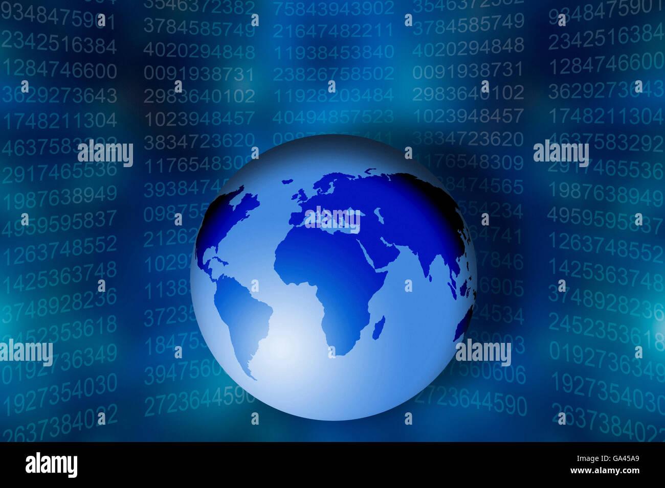 Globe terrestre avec les numéros de code en arrière-plan, un concept pour l'internet et de logiciels Photo Stock