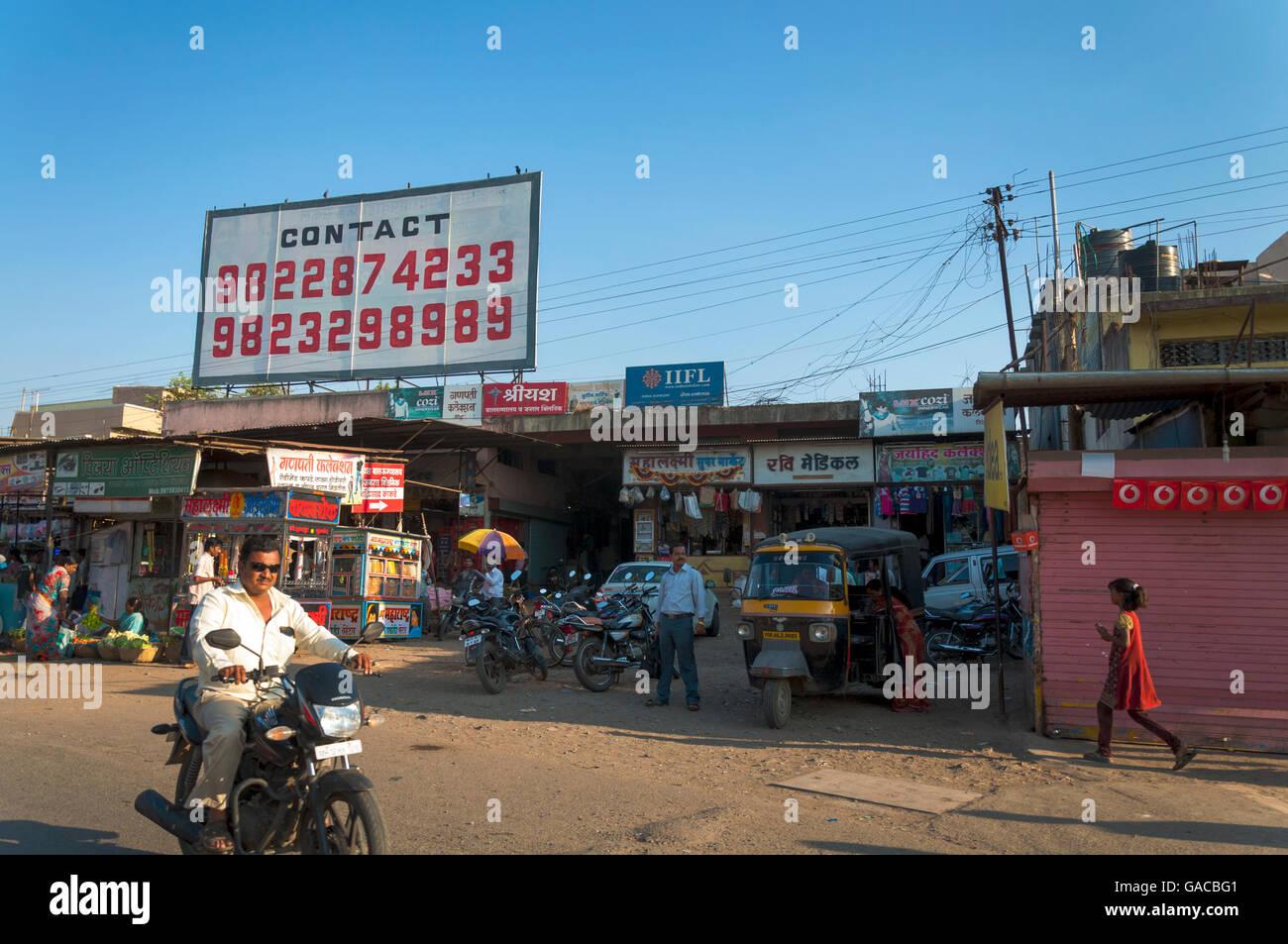 Soirée Scène de rue à Pune, Maharashtra, Inde Banque D'Images