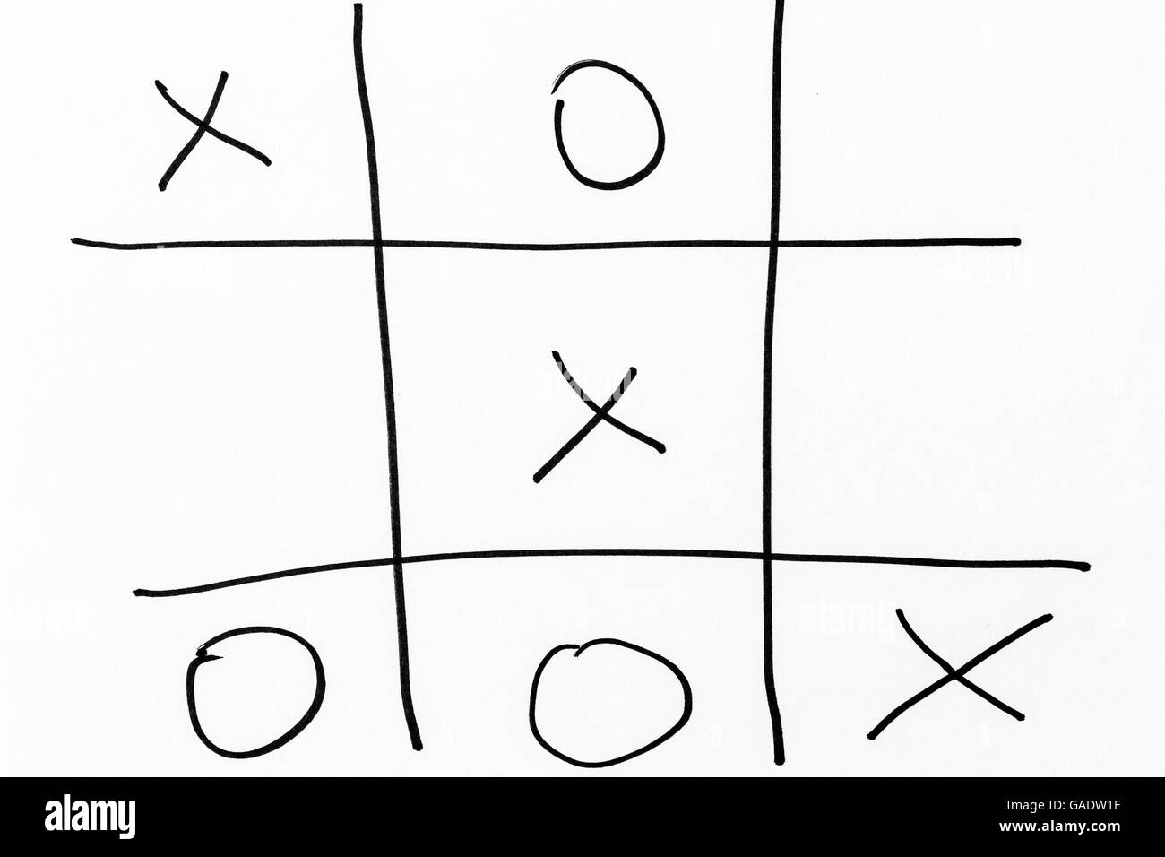 La main d'un tic-tac-toe grille jeu Photo Stock