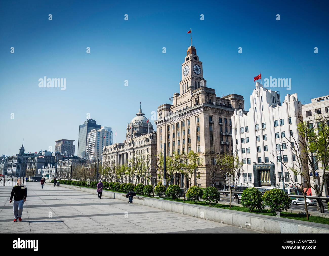 Bund Riverside patrimoine colonial européen monument du centre de la ville de Shanghai Chine Photo Stock