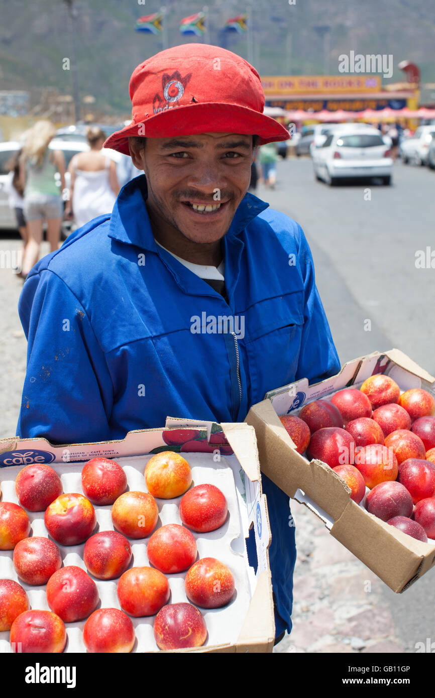 Fournisseur Apple au marché de Hout Bay, Cape Town, Afrique du Sud Photo Stock